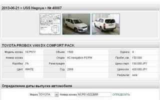 Проверить японский авто по номеру кузова бесплатно